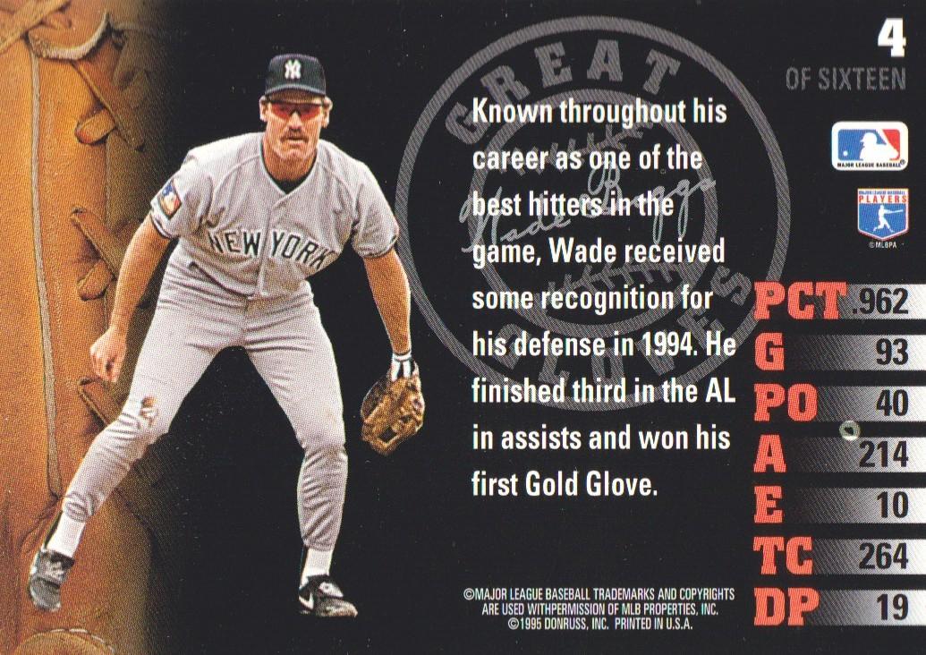 1995 Leaf Great Gloves #4 Wade Boggs back image