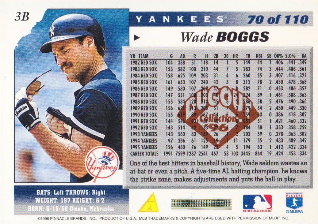 1996 Score Dugout Collection Artist's Proofs #B70 Wade Boggs back image