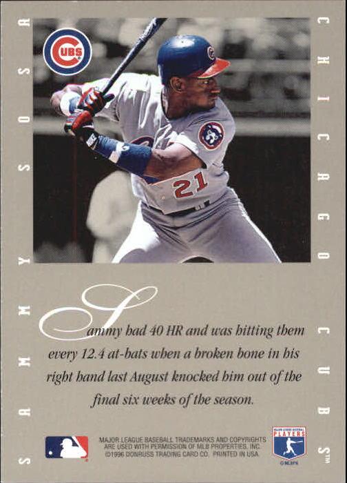1996 Leaf Signature Extended Autographs Century Marks #28 Sammy Sosa back image