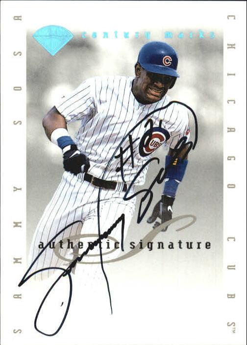 1996 Leaf Signature Extended Autographs Century Marks #28 Sammy Sosa