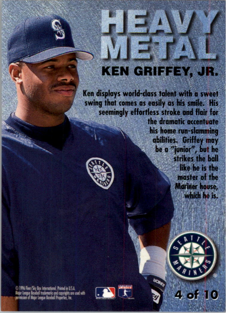1996 Metal Universe Heavy Metal #4 Ken Griffey Jr. back image