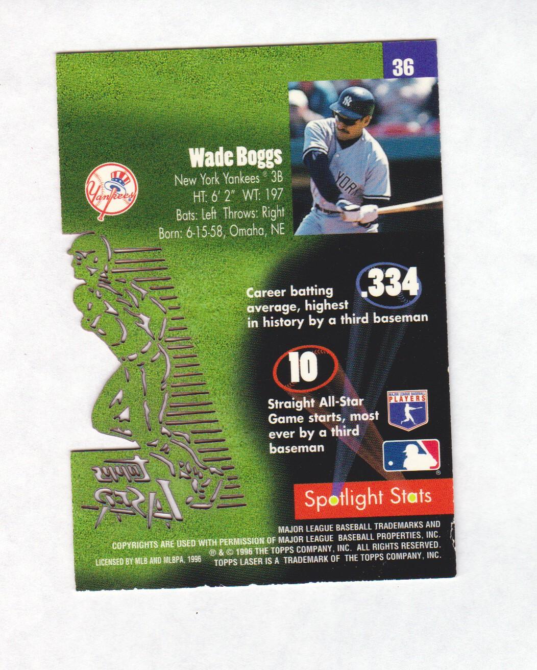 1996 Topps Laser #36 Wade Boggs back image