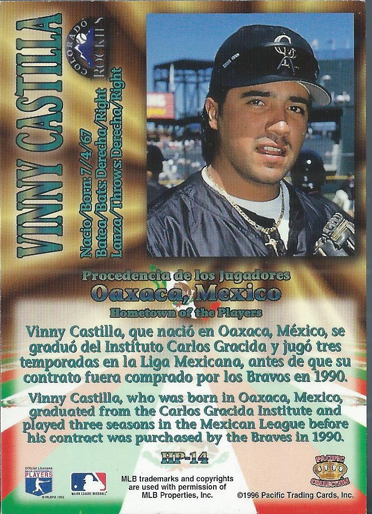 1996 Pacific Hometowns #HP14 Vinny Castilla back image