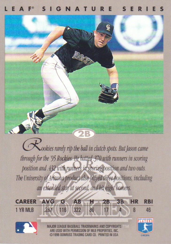 1996 Leaf Signature Autographs #16 Jason Bates back image