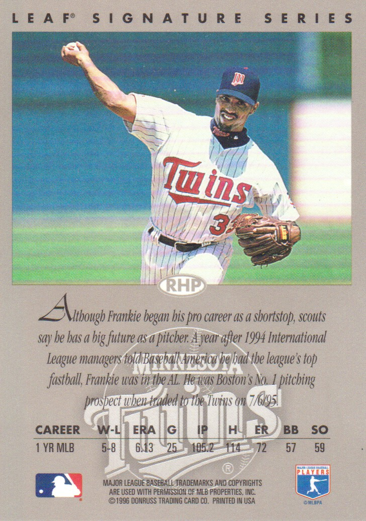 1996 Leaf Signature Autographs #197 Frank Rodriguez back image