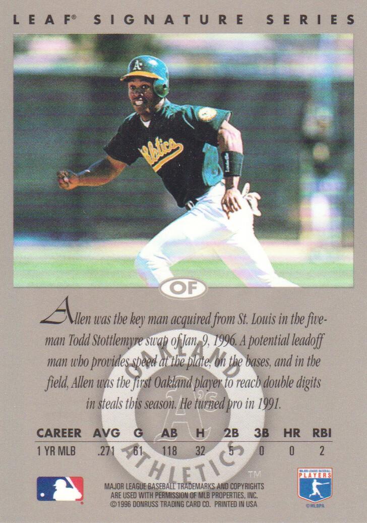 1996 Leaf Signature Autographs Silver #17 Allen Battle back image