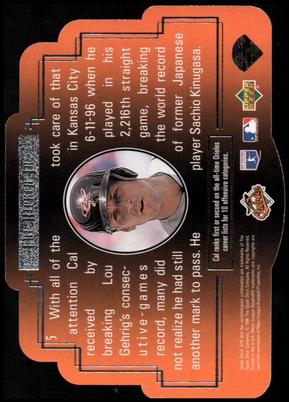 1996 SPx Gold #5 Cal Ripken back image