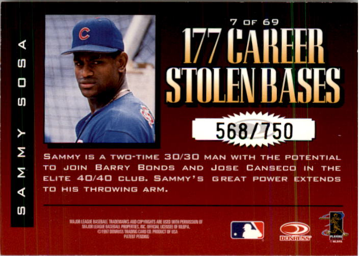 1997 Donruss Limited Fabric of the Game #7 Sammy Sosa S back image