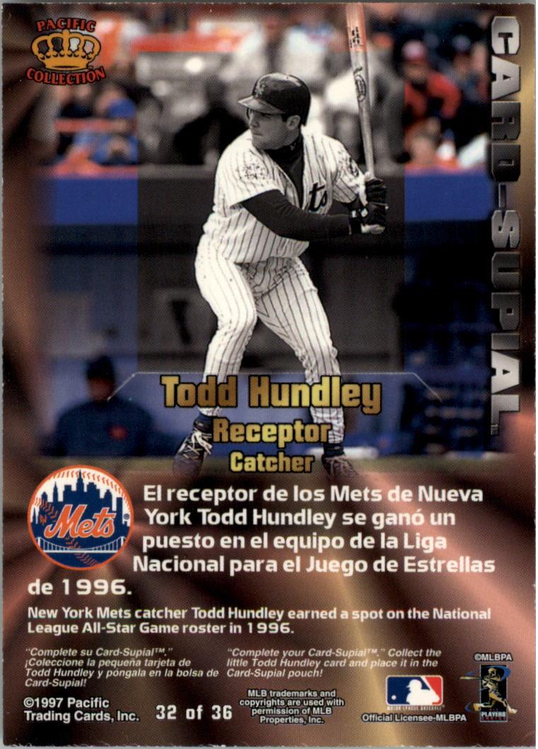 1997 Pacific Card-Supials #32 Todd Hundley back image