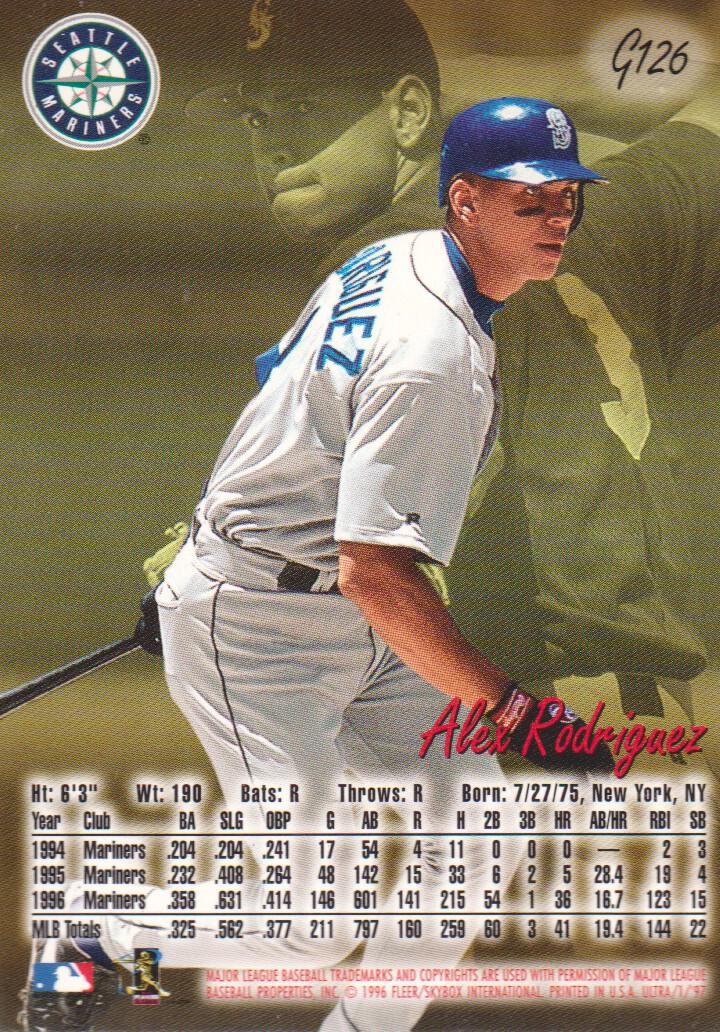 1997 Ultra Gold Medallion #126 Alex Rodriguez back image