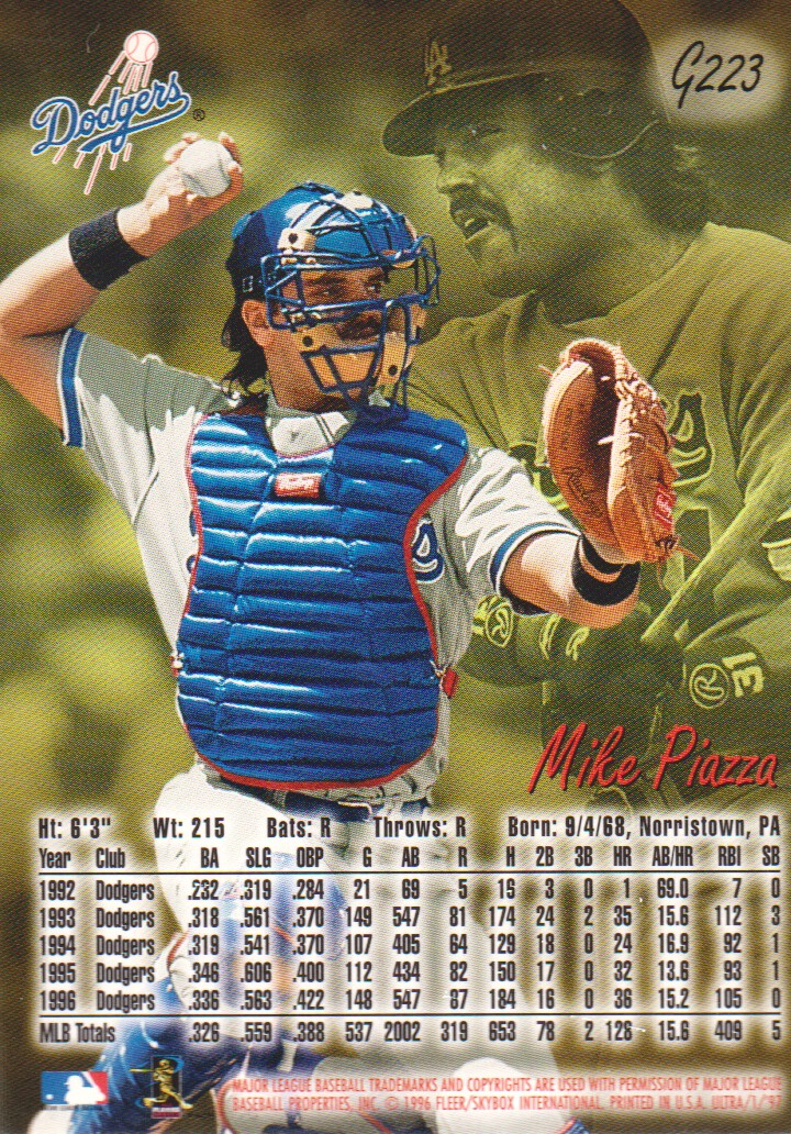 1997 Ultra Gold Medallion #223 Mike Piazza back image