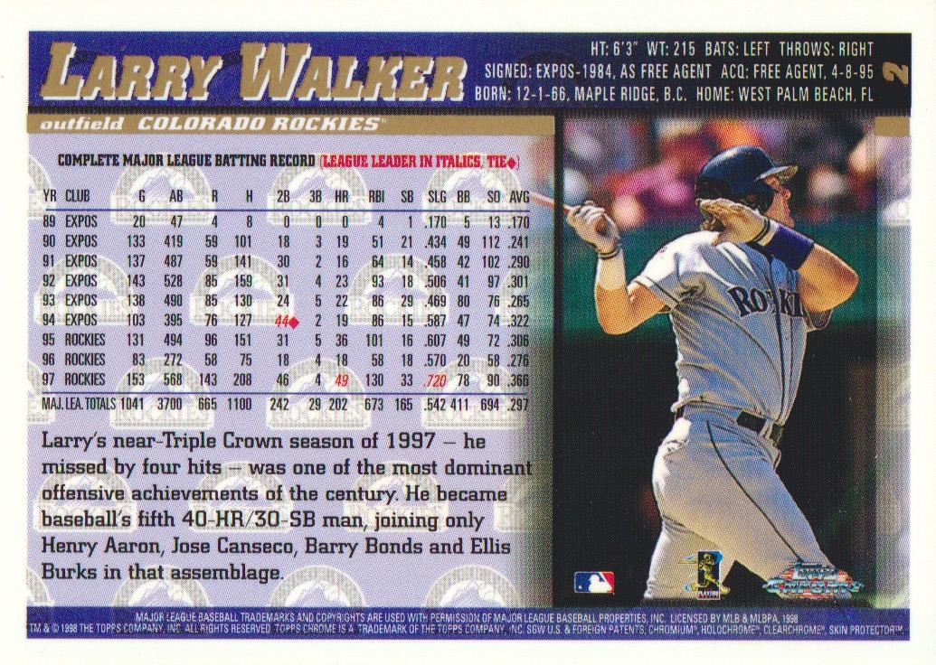 1998 Topps Chrome #2 Larry Walker back image