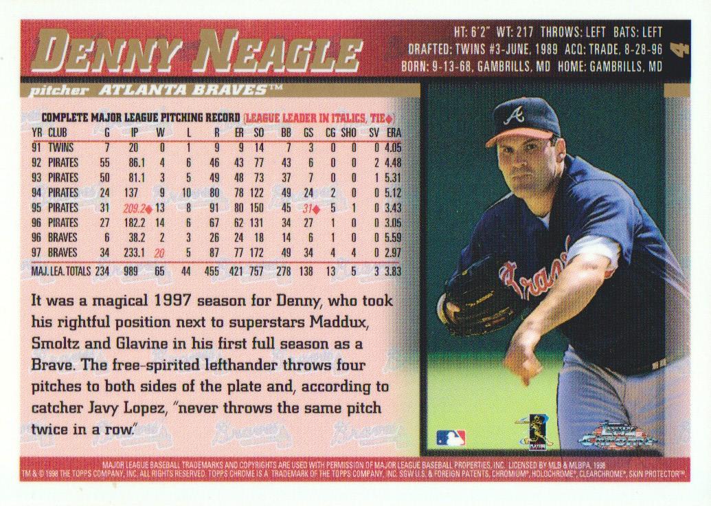 1998 Topps Chrome #4 Denny Neagle back image