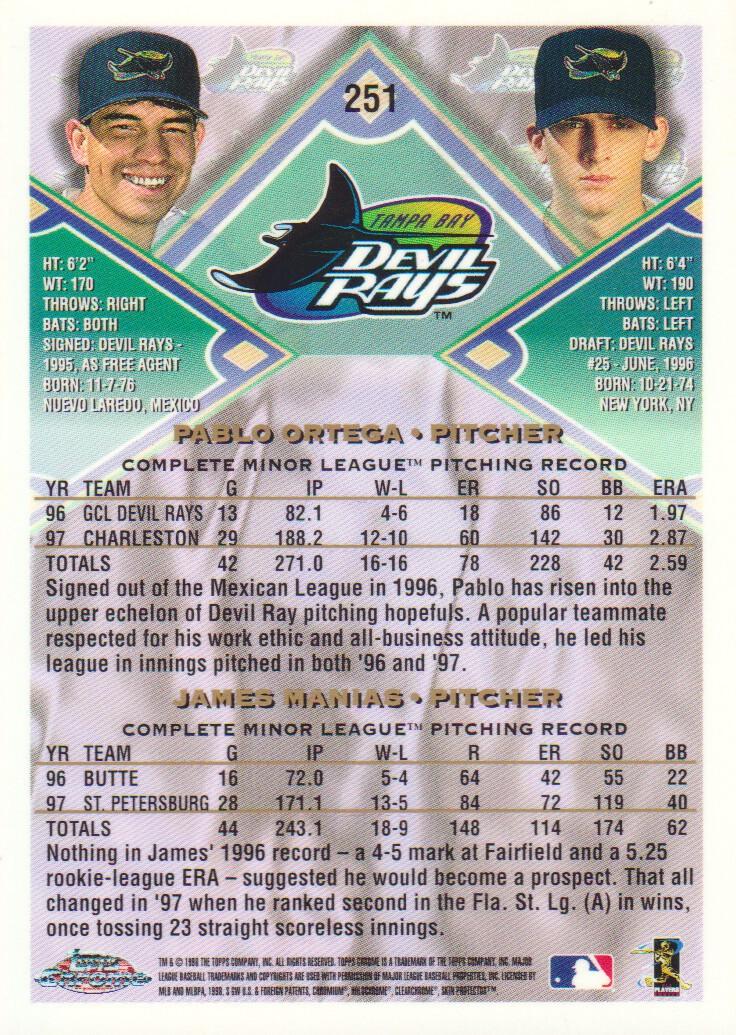1998 Topps Chrome #251 P.Ortega/J.Manias back image