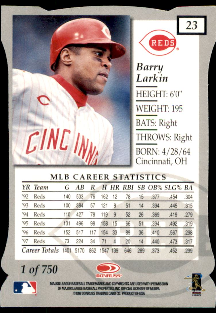 1998 Donruss Elite Aspirations #23 Barry Larkin back image