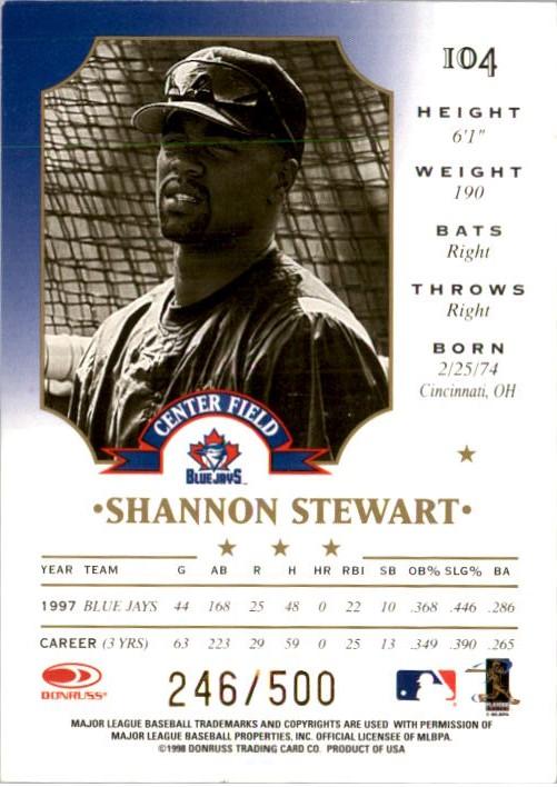 1998 Leaf Fractal Materials #104 Shannon Stewart NX back image
