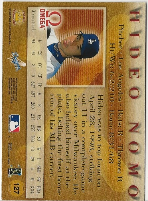 1998 Pacific Omega Red #127 Hideo Nomo back image