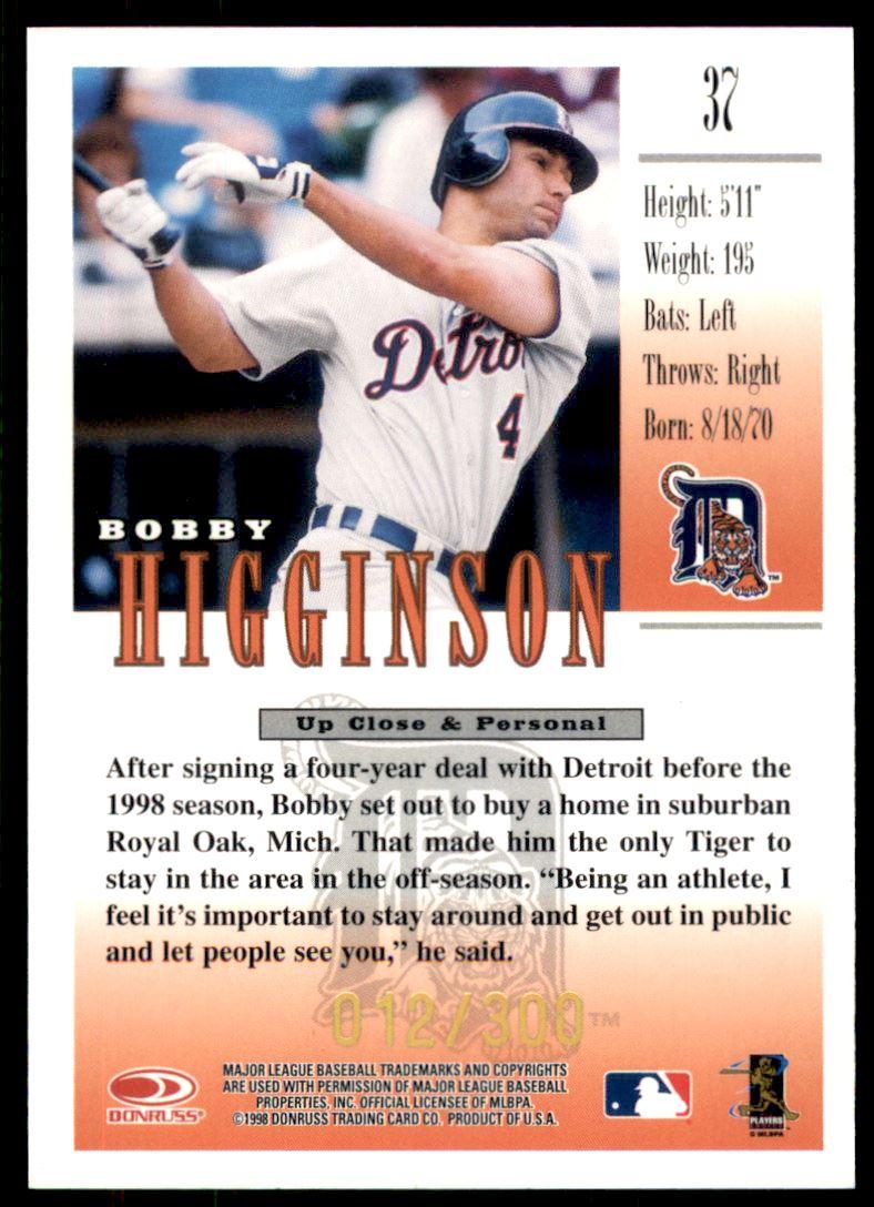 1998 Studio Gold Press Proofs #37 Bobby Higginson back image