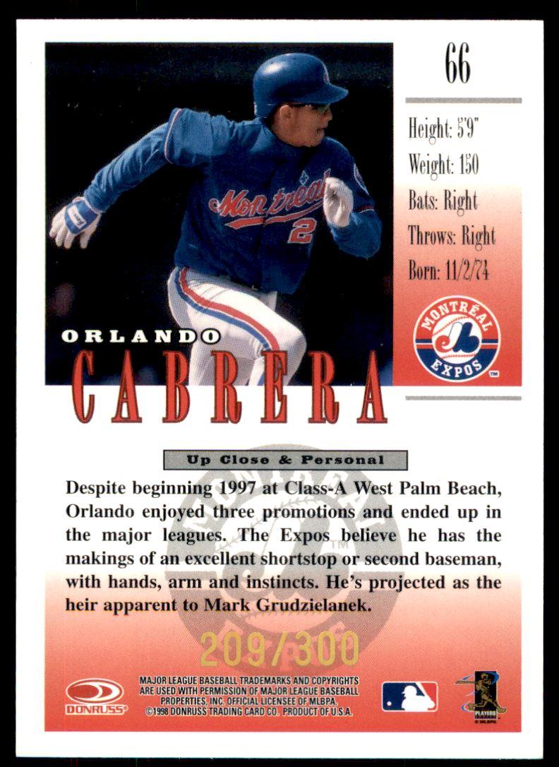 1998 Studio Gold Press Proofs #66 Orlando Cabrera back image