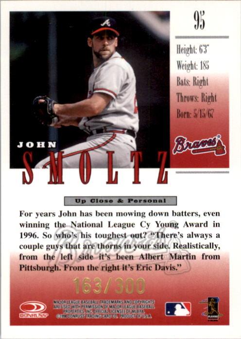 1998 Studio Gold Press Proofs #95 John Smoltz back image