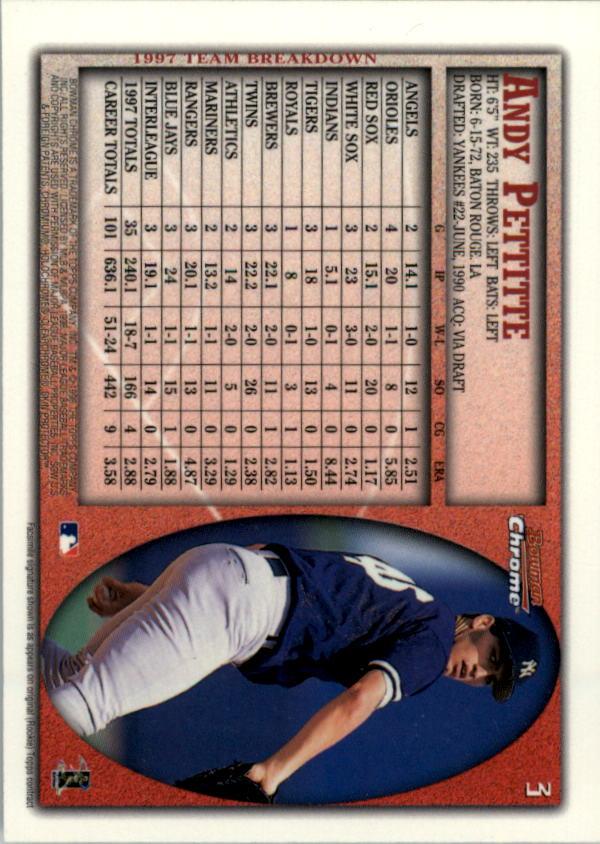 1998 Bowman Chrome #3 Andy Pettitte back image