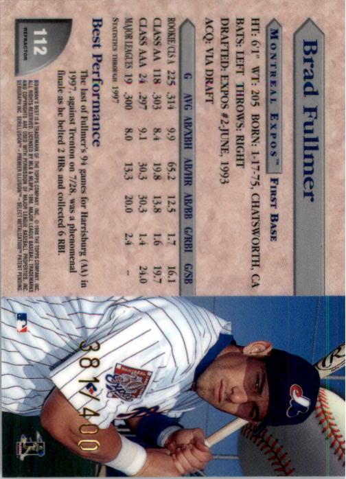 1998 Bowman's Best Refractors #112 Brad Fullmer back image