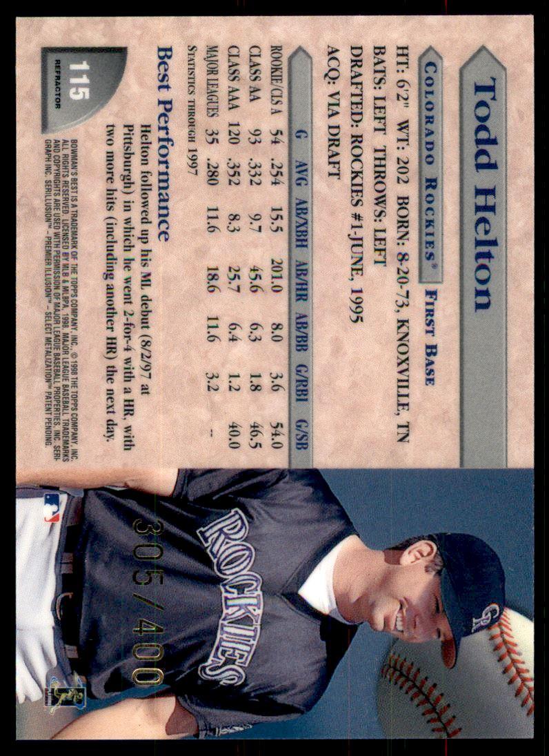 1998 Bowman's Best Refractors #115 Todd Helton back image