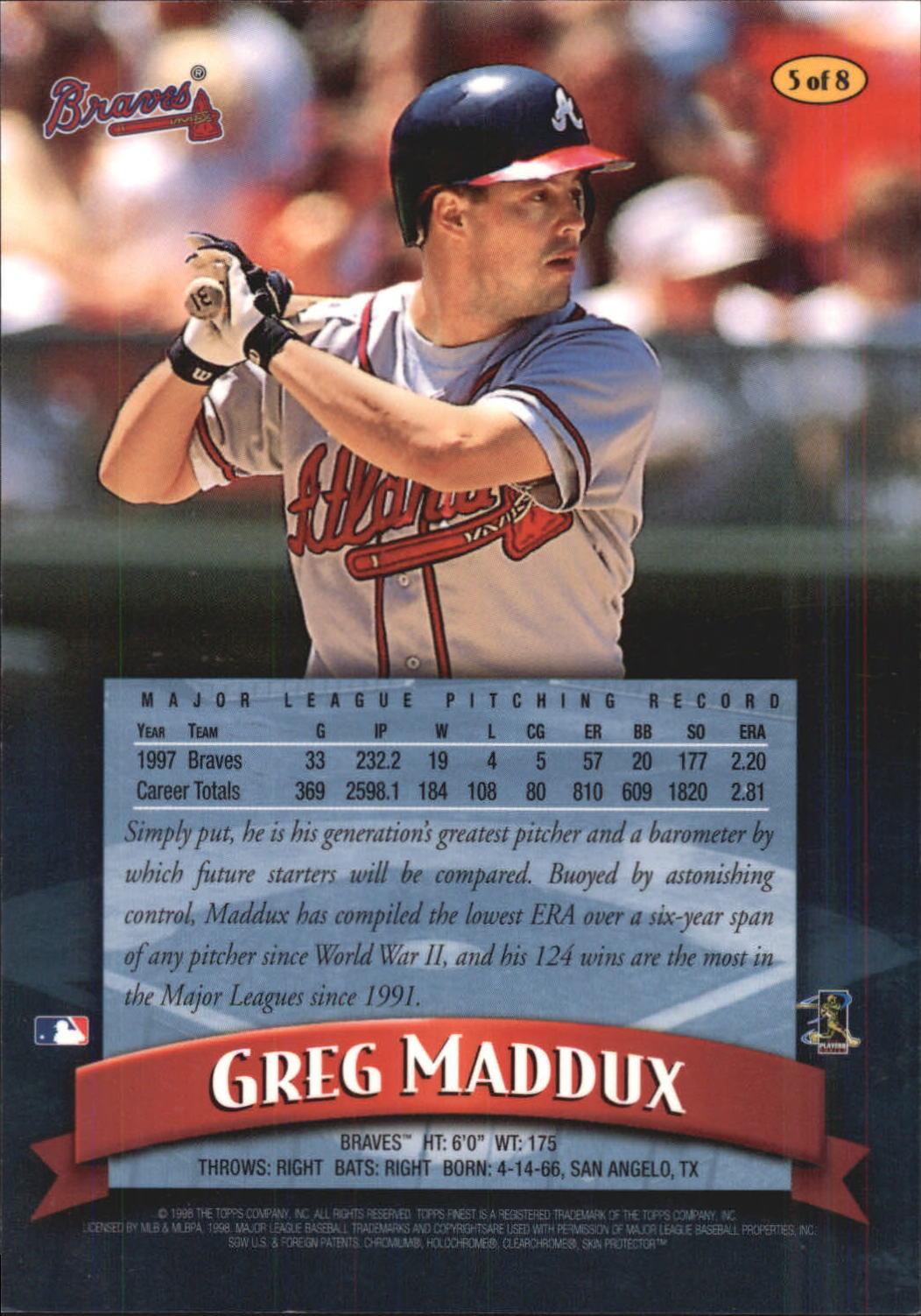 1998 Finest Oversize #A5 Greg Maddux back image