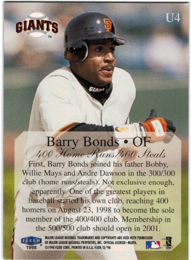 1998 Fleer Tradition Update #U4 Barry Bonds HL back image