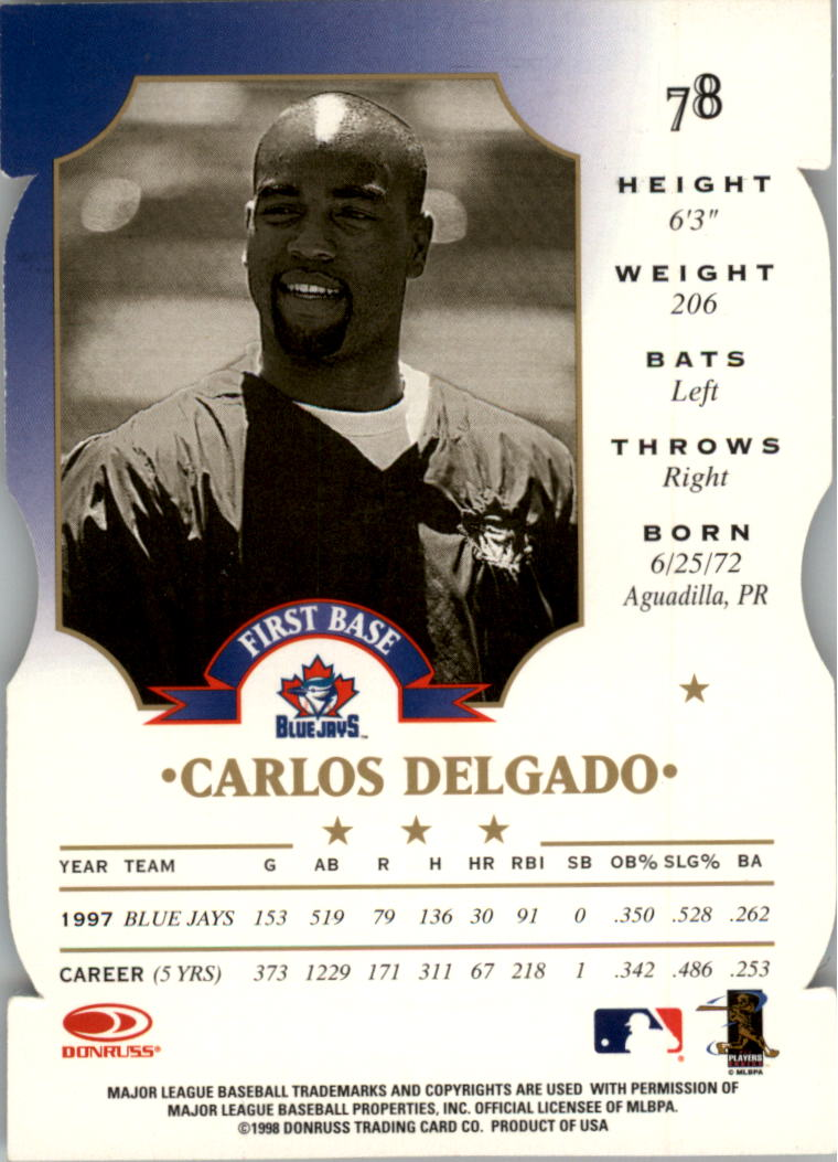 1998 Leaf Fractal Matrix Die Cuts #78 Carlos Delgado BY back image