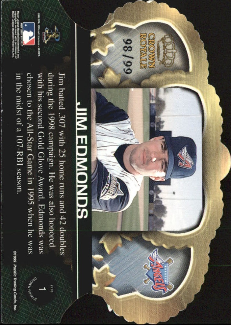 1999 Crown Royale Limited #1 Jim Edmonds back image