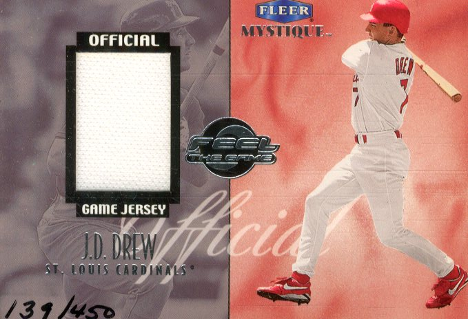 1999 Fleer Mystique Feel the Game #2 J.Drew Jersey/450