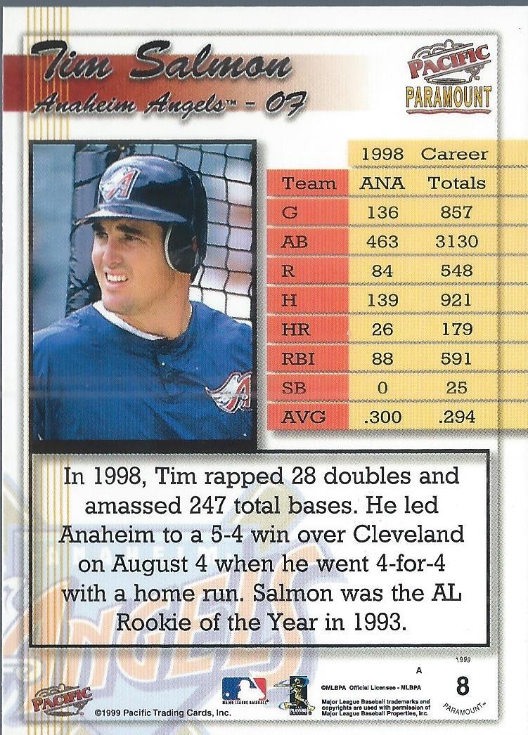 1999 Paramount Gold #8 Tim Salmon back image