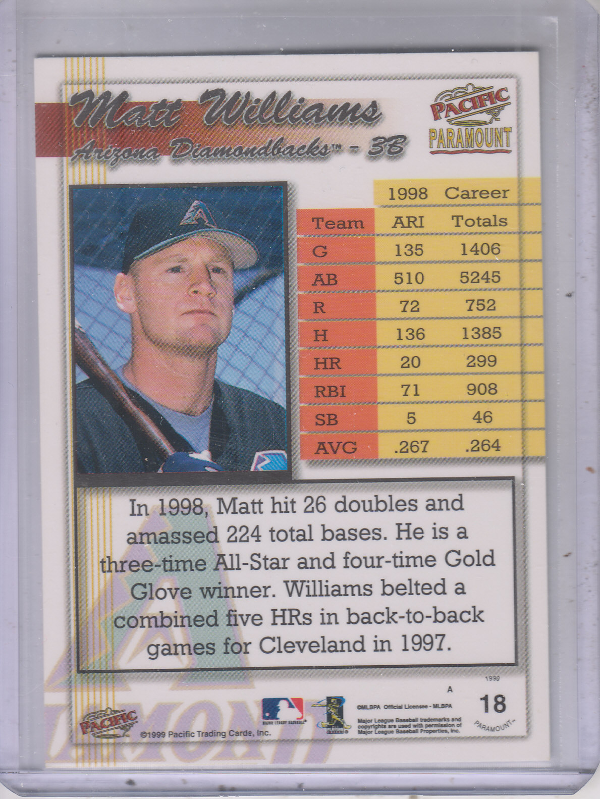 1999 Paramount Holo-Gold #18 Matt Williams back image