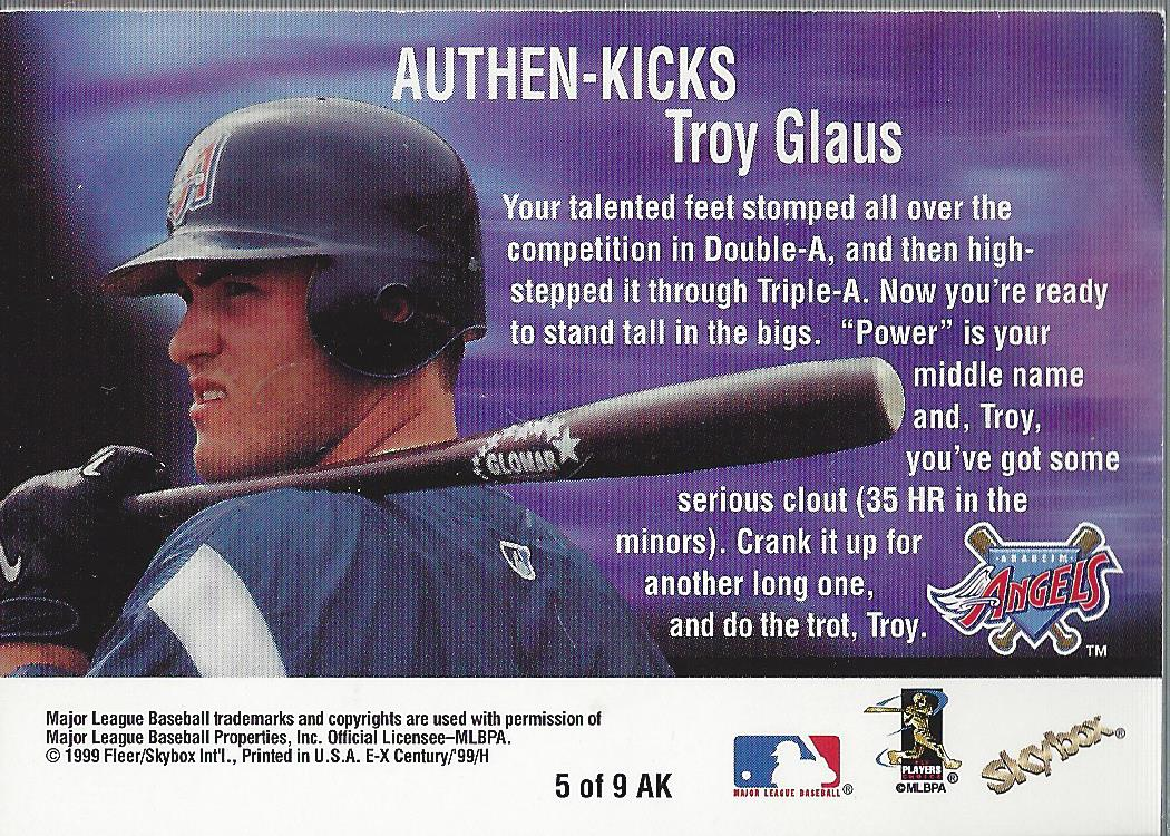 1999 E-X Century Authen-Kicks #5 Troy Glaus/205 back image
