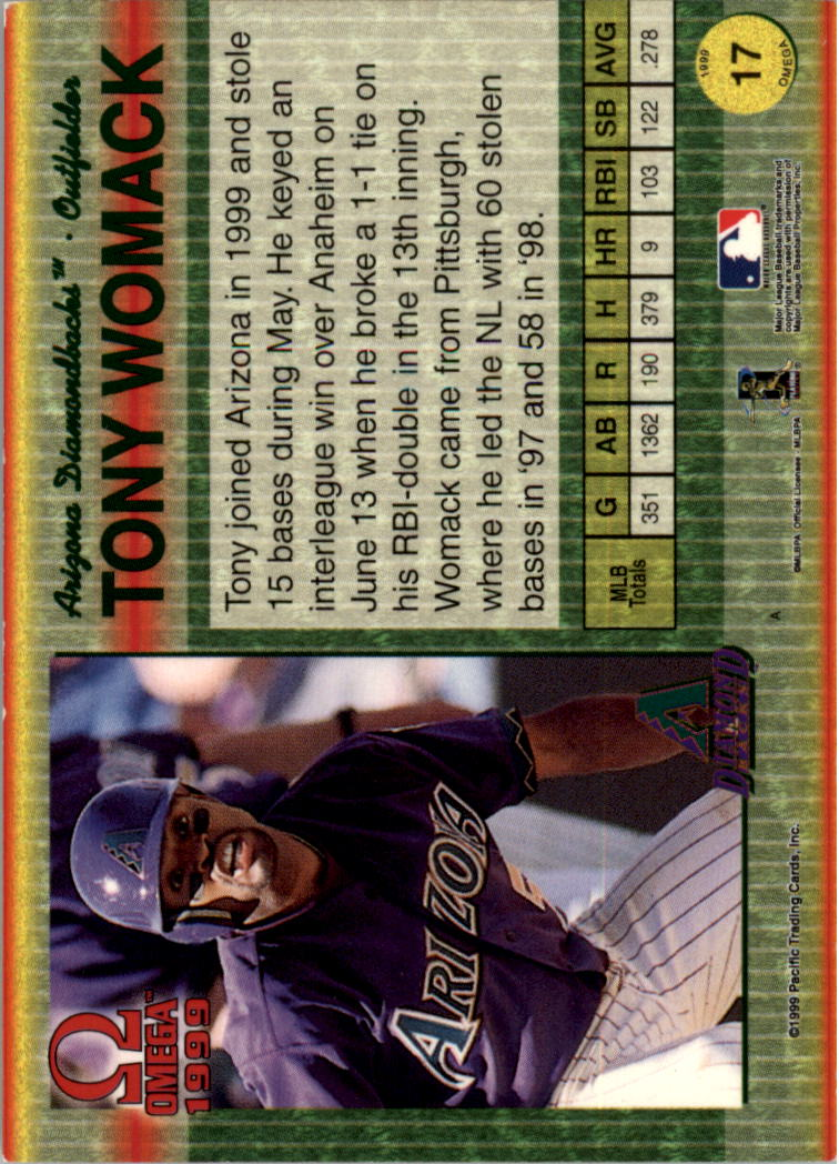 1999 Pacific Omega Gold #17 Tony Womack back image