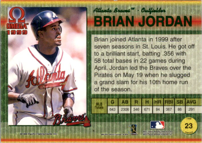 1999 Pacific Omega Gold #23 Brian Jordan back image