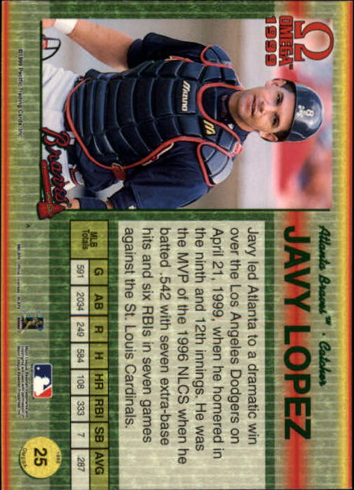 1999 Pacific Omega Gold #25 Javy Lopez back image
