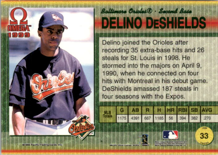 1999 Pacific Omega Gold #33 Delino DeShields back image