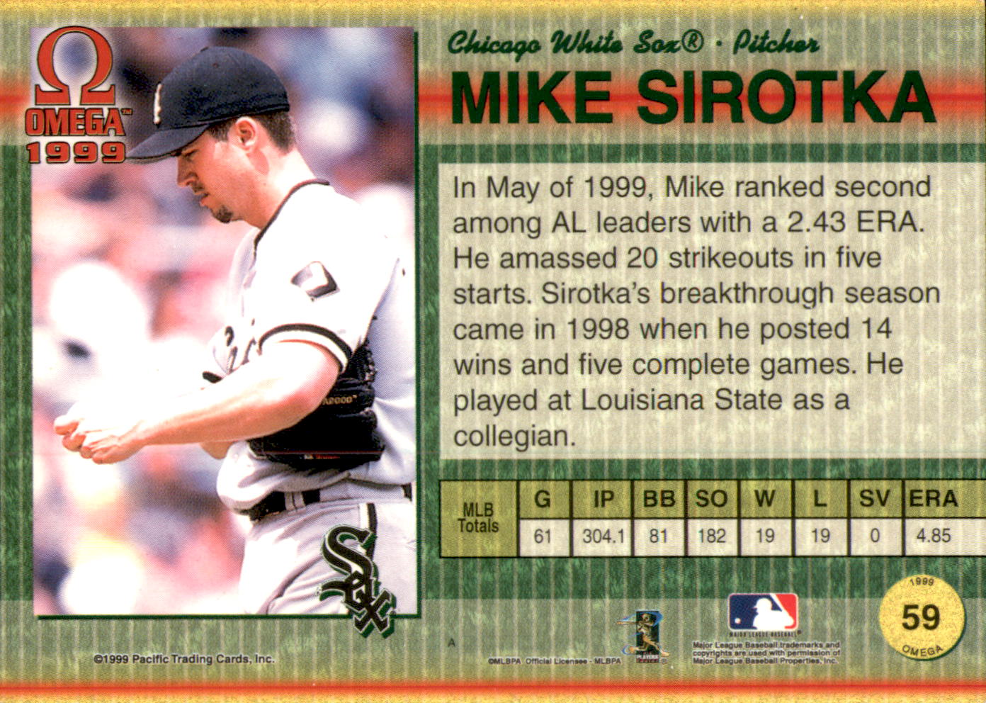 1999 Pacific Omega Gold #59 Mike Sirotka back image