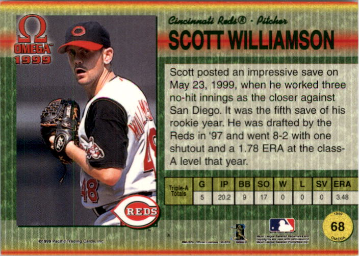 1999 Pacific Omega Gold #68 Scott Williamson back image
