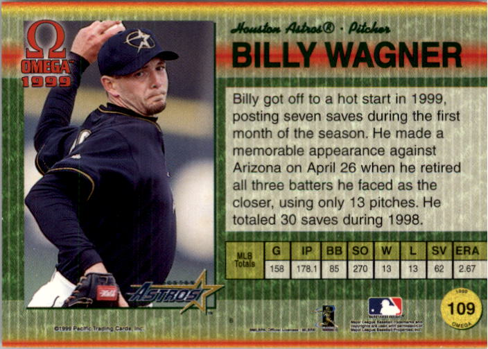 1999 Pacific Omega Gold #109 Billy Wagner back image