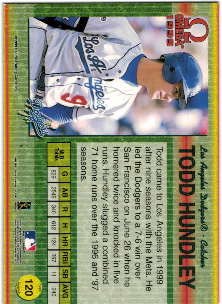 1999 Pacific Omega Gold #120 Todd Hundley back image
