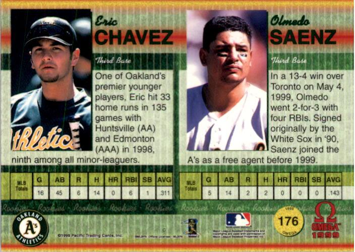 1999 Pacific Omega Gold #176 E.Chavez/O.Saenz back image