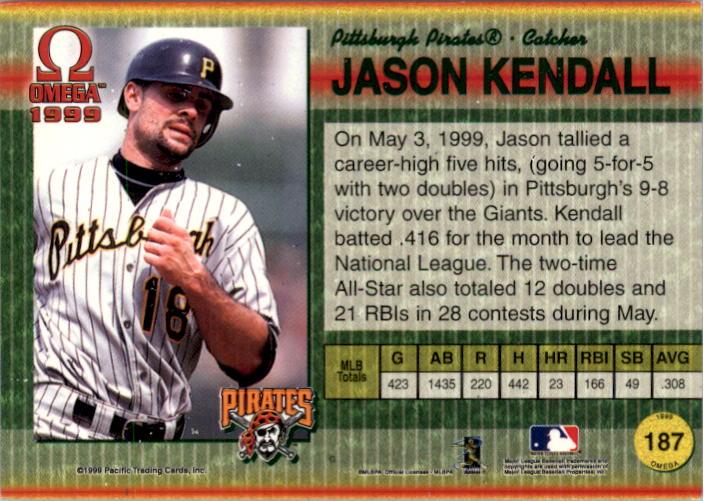 1999 Pacific Omega Gold #187 Jason Kendall back image