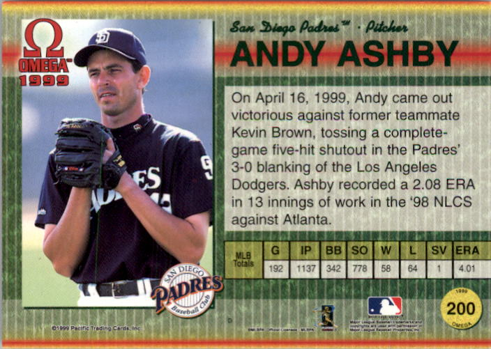 1999 Pacific Omega Gold #200 Andy Ashby back image