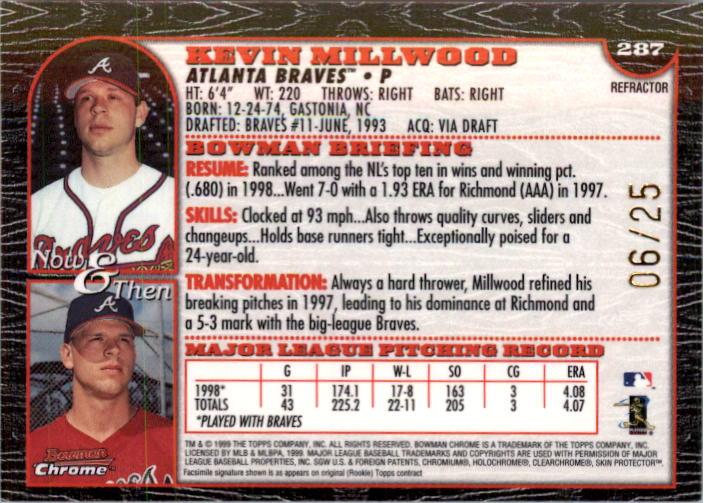 1999 Bowman Chrome Gold Refractors #287 Kevin Millwood back image