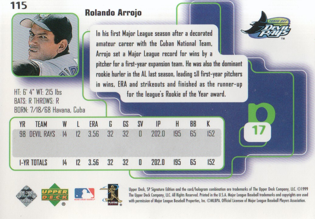 1999 SP Signature #115 Rolando Arrojo back image