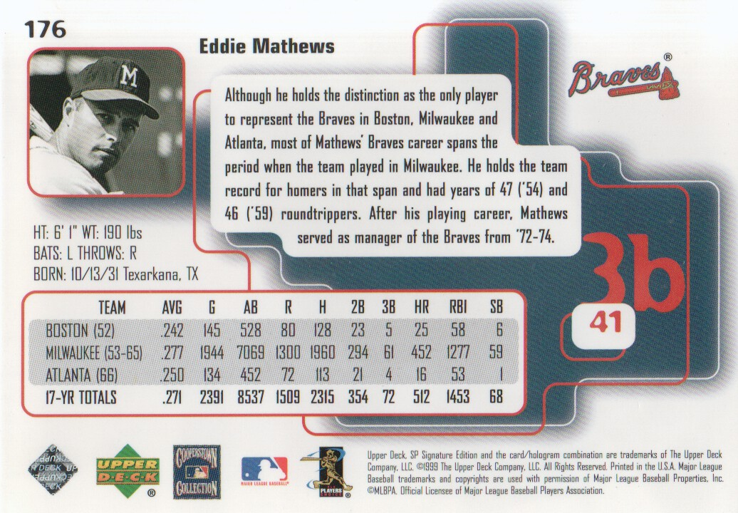 1999 SP Signature #176 Eddie Mathews back image