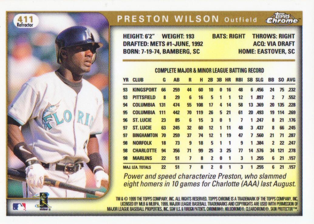1999 Topps Chrome Refractors #411 Preston Wilson back image